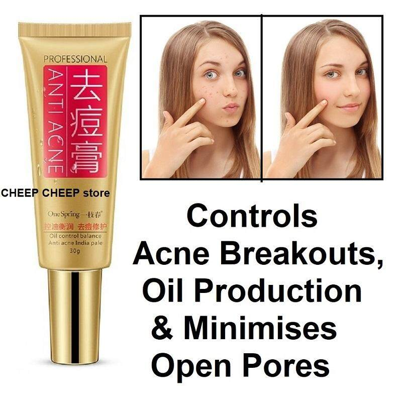 One Spring Professional Anti Acne Oil Control Cream – with Plant Extract Essence for Acne Pimple Scars Open Pores & Excessive Sebum Unisex Treatment Strength Serum 30ml