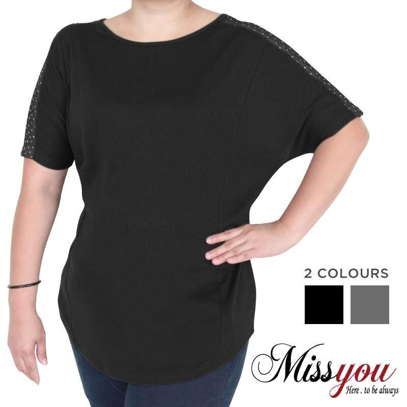 MISS YOU PLUS SIZE Cut & Sew Batwing Shimmer Dots Shirt MY100006 (Black)