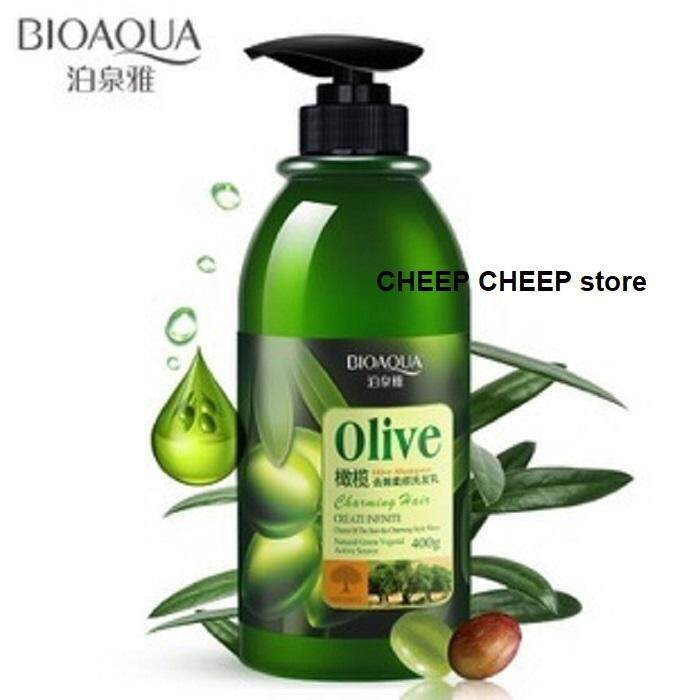 Bioaqua Olive Shampoo Charming Hair Series to Repair Dry Damaged Hair Frizz Control More Manageable Less Split Ends Silky Soft Hair Less Dandruff 400g