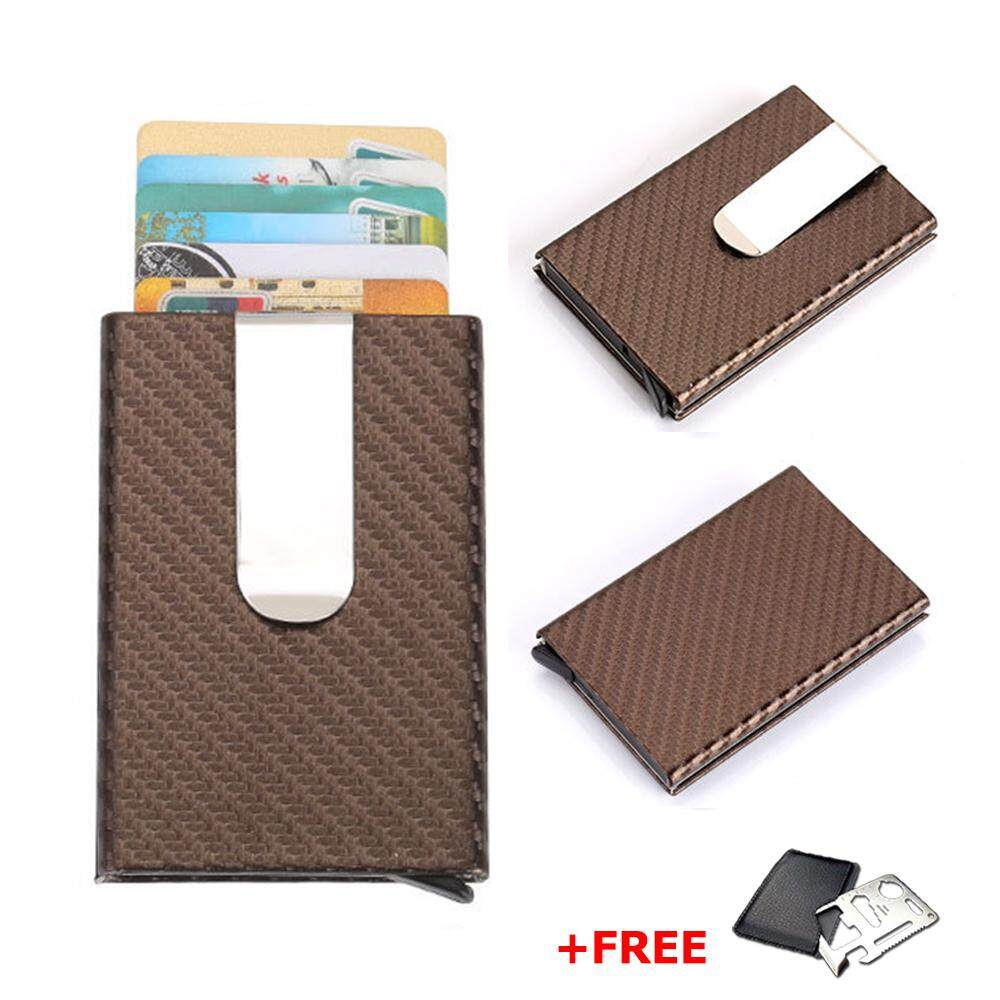 Slim Carbon Fiber Credit Card Holder RFID Non-scan Metal Simple Wallet Money Clip Case MI3173
