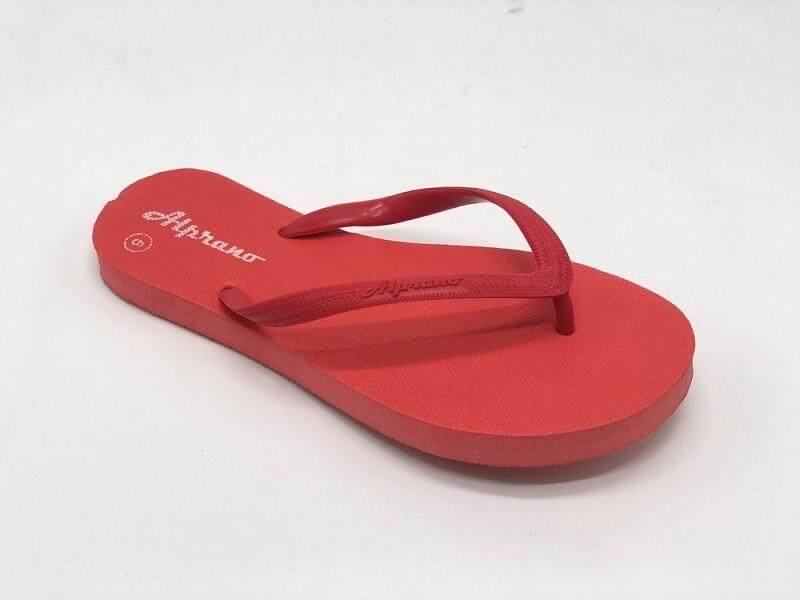 Alprano APL-01 Rubber Anti Slip Flat Slippers Beach Slippers Ladies Designs UK Size 8 (Red)