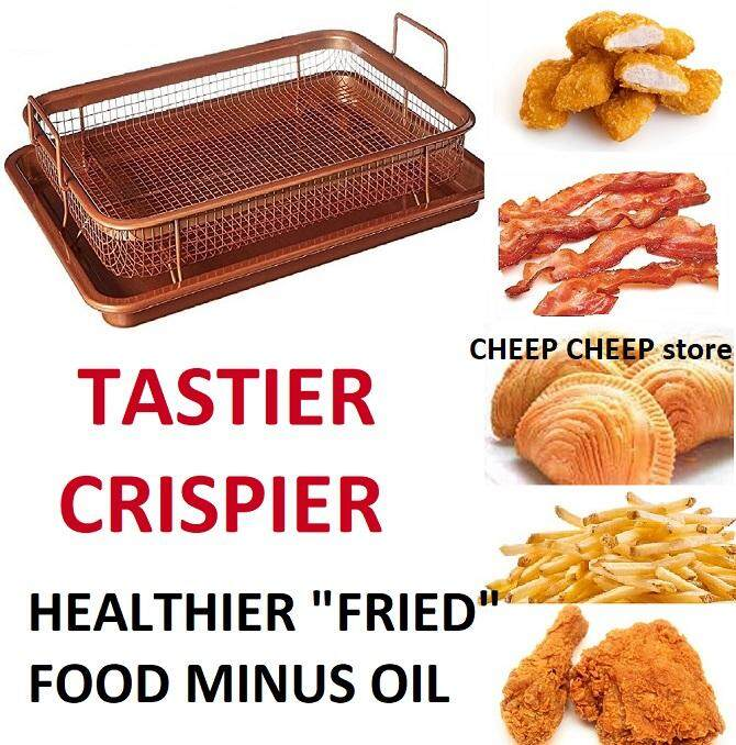 2 in 1 Copper Rectangle Crispy Tray for Crispier Tastier Healthier Food – Non Stick Oven Air Fryer Without Oil