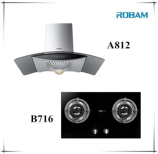 ROBAM A812 Chimney Hood + B716 2 Burners Glass Hob