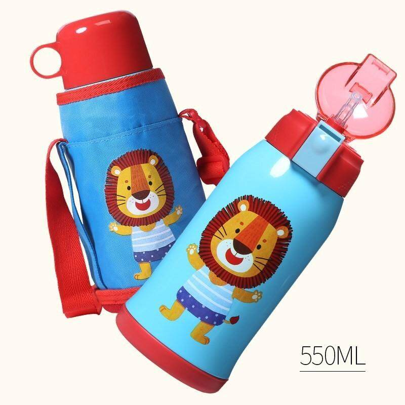 FACE 0.55L Classic Animal Kids Children Thermos Vacuum Insulated Flask with Strap (Multi Cover) Water Bottle Tumbler FREE GIFT - Lion
