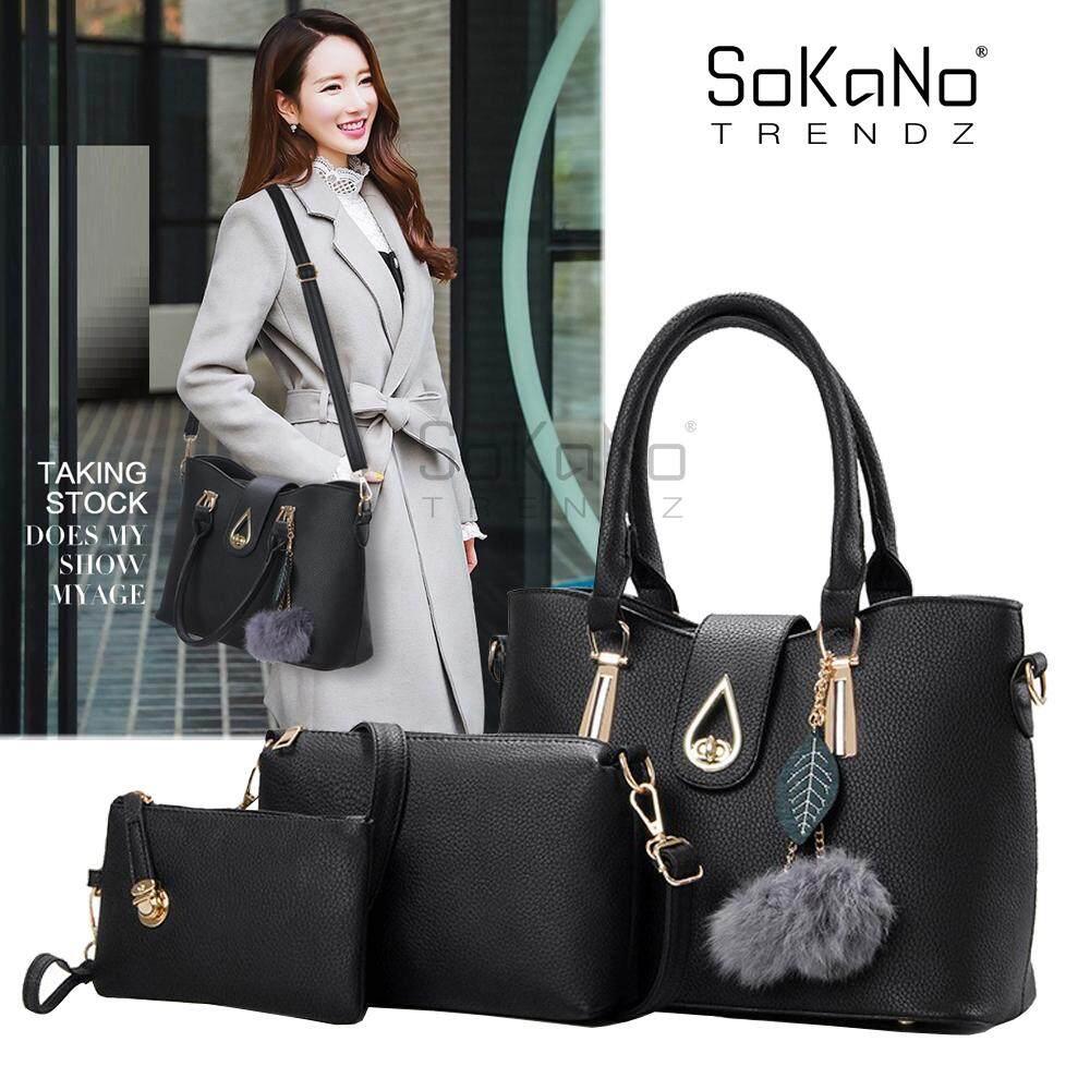 SoKaNo Trendz SKN846 Large Capacity Luxury Top Handle Tote Bag With Charm(Set of 3) Handbeg Wanita