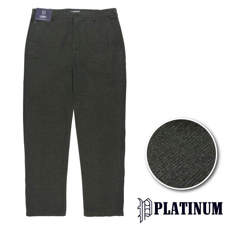 PLATINUM BIG SIZE Flat Front Fancy Cotton Stretch Chinos PM660 (Grey)