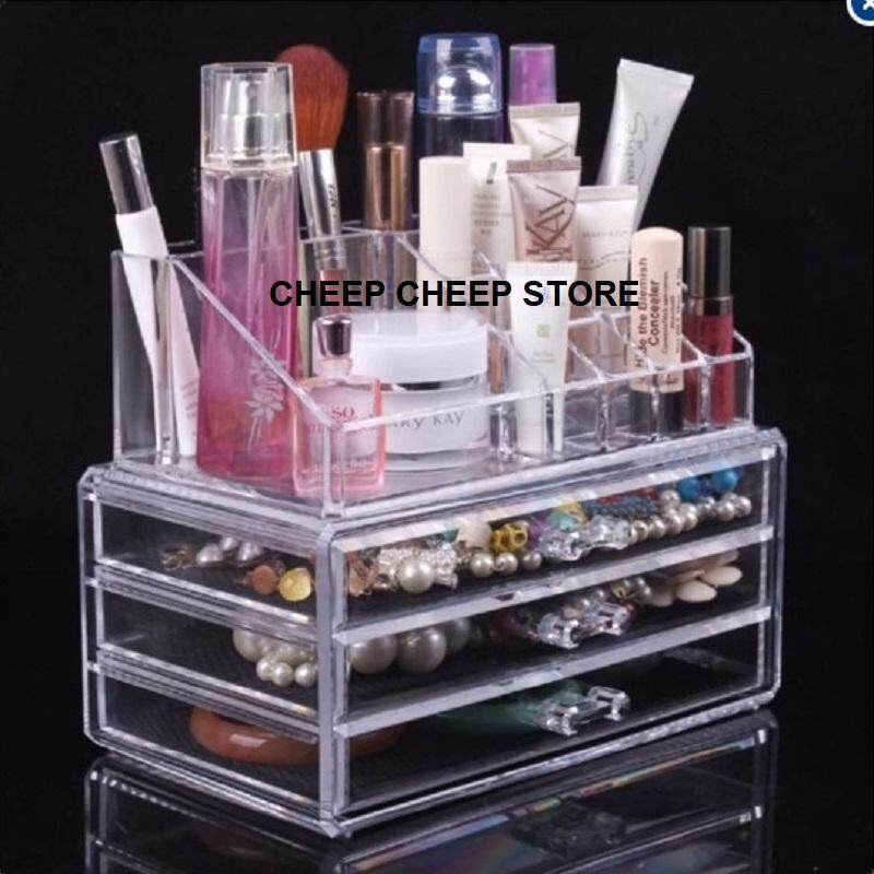 Clear Acrylic Cosmetic Organizer Drawer 4 Tier Makeup Jewelry Storage Display Rack Stand Box Container Lipstick Holder 3 + 1 Layers