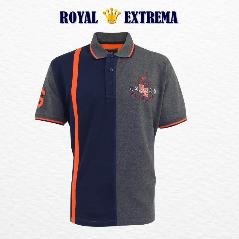 ROYAL EXTREMA BIG SIZE Men's Pique Polo Cut & Sew Tee RE2005 (Charcoal)