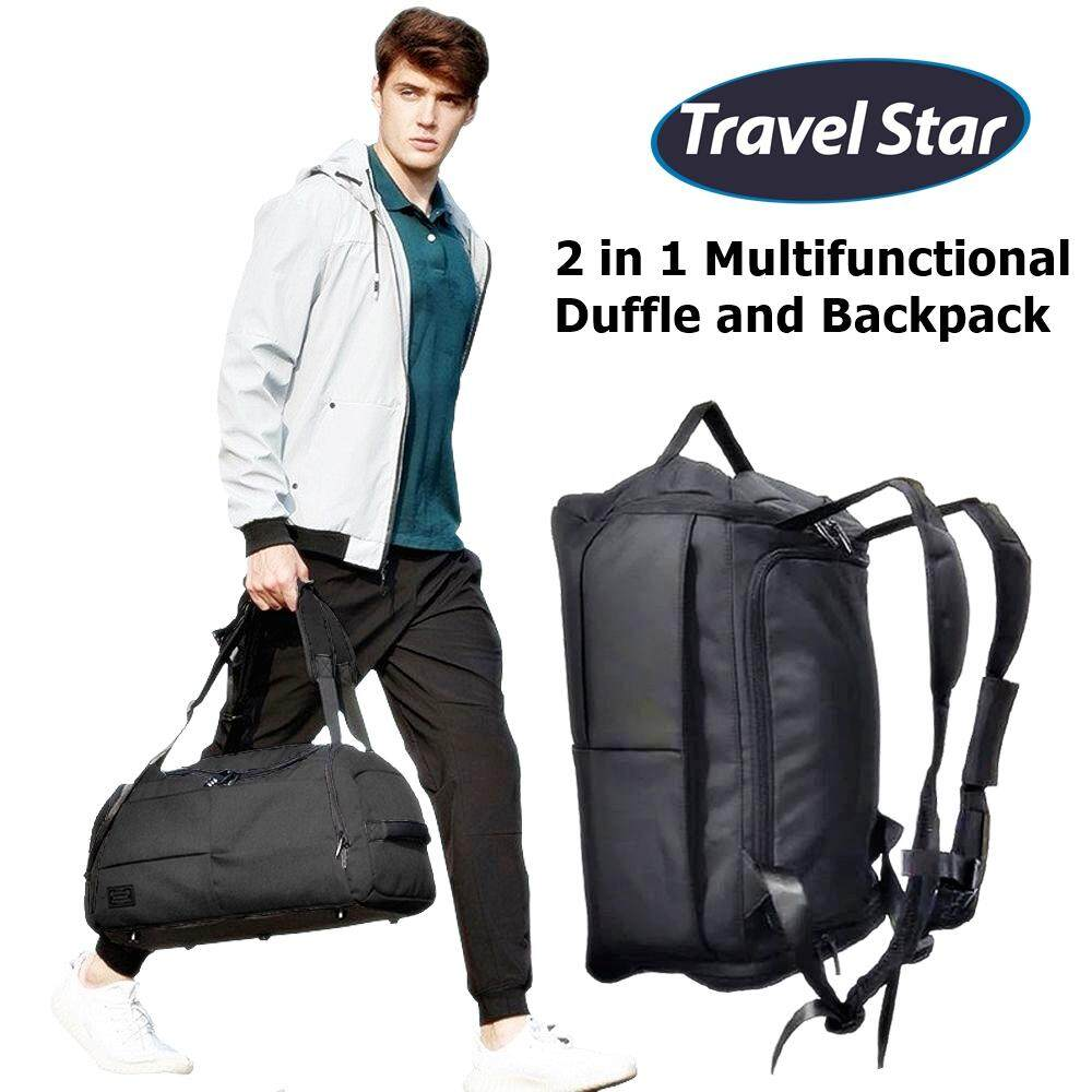 Travel Star 1789 2 in 1 Duffle and Double Straps Travel Backpack Gym Bag with Shoe Compartment (Free Password Pad Lock)