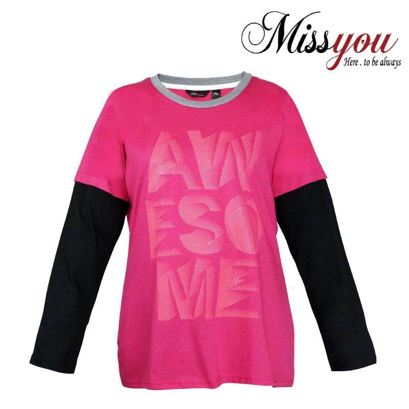 MISS YOU PLUS SIZE Ladies Casual 2 in 1 Long Sleeves with Printing MY300016 (Pink)