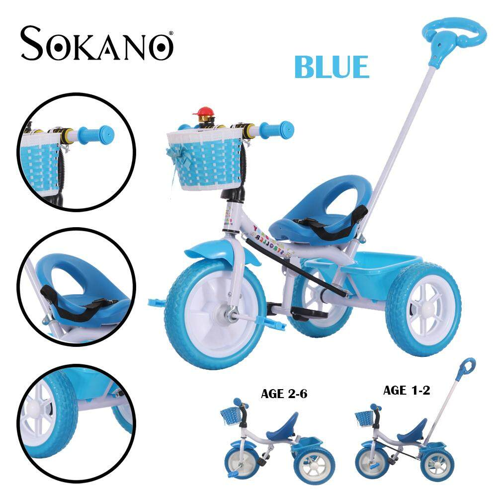 SOKANO TOY T005 Kids Tricycle Baby Walker Bicycle Childrens Outdoor Toys Bicycles Ride On Bikes With Stroller Handle Toys for boys