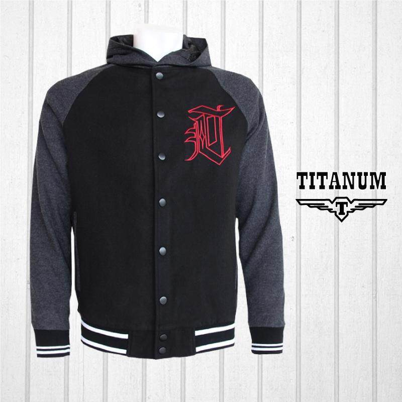 TITANUM BIG SIZE Hooded Varsity Jacket with Lining TIM7007 (Black)
