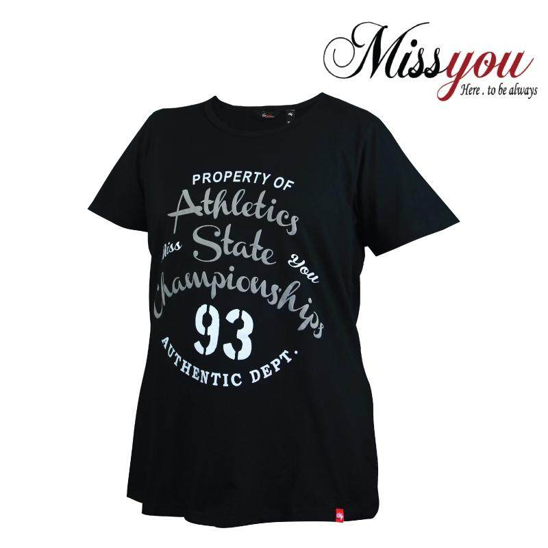 MISS YOU PLUS SIZE Ladies Casual Round Neck Tee with Printing MY100014 (Black)