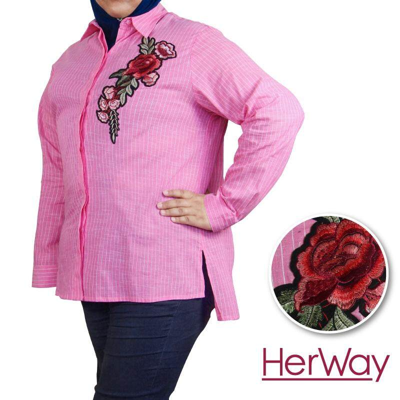 HERWAY PLUS SIZE Formal Stripe Shirt with Embroidery Patch HW9029 (Pink)