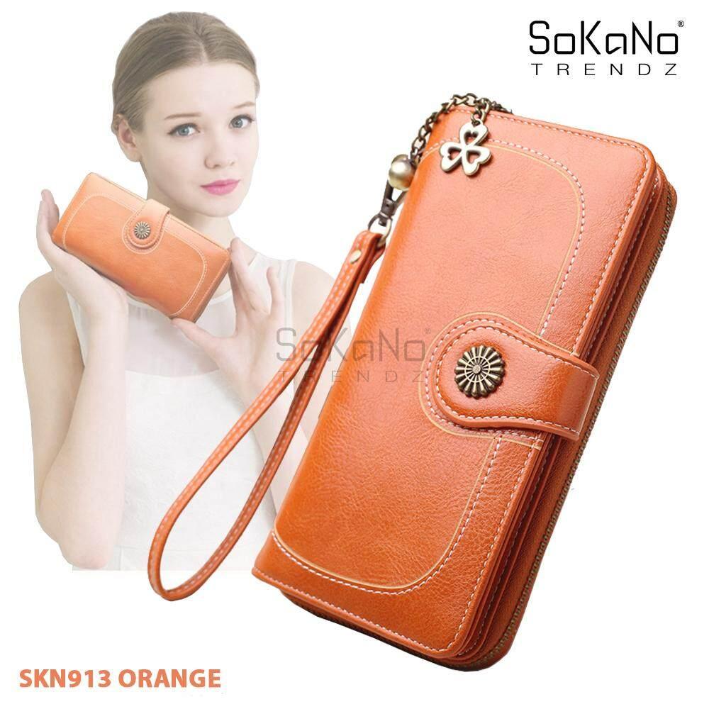 SoKaNo Trendz SKN913 Vintage Wax PU Leather Wallets Women Long Purse Phone Pouch Zipper Purse Women Clutch Purses Coin Card Holders Gifts Beg Perempuan
