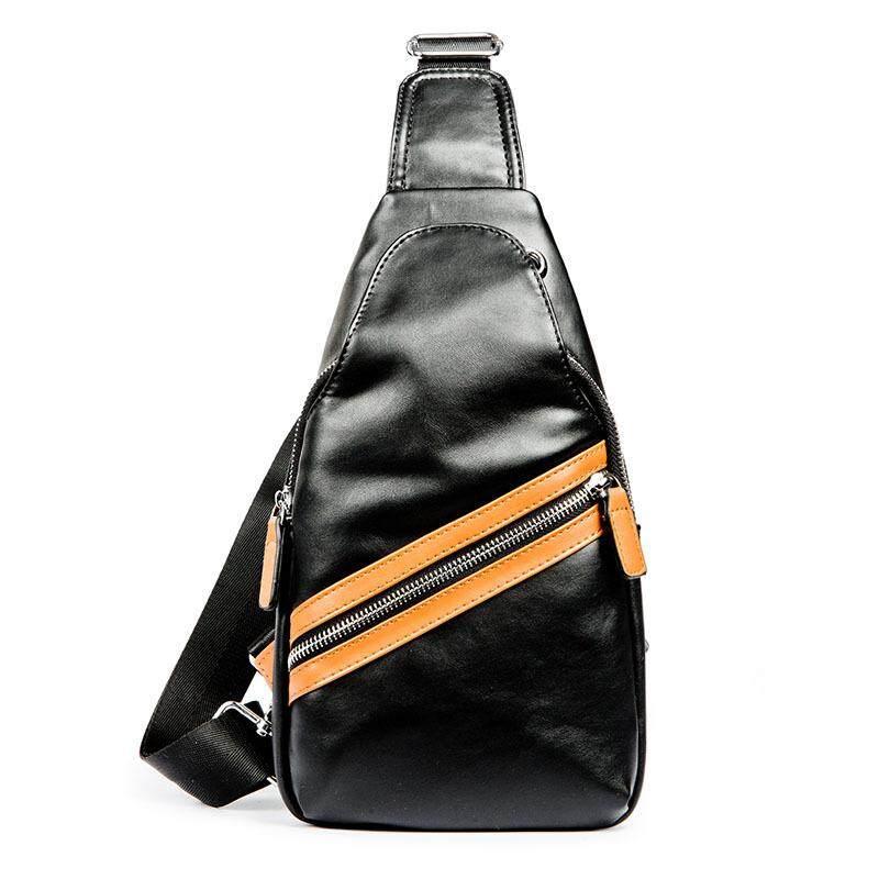 Men Casual Leather Sling Shoulder Cross Body Bag Black Handbag Wallet 308 MI3081