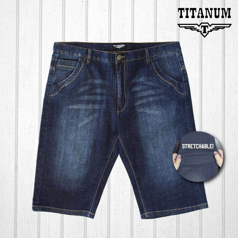 TITANUM BIG SIZE Stretchable Jeans Shorts TJSP503 (Blue)