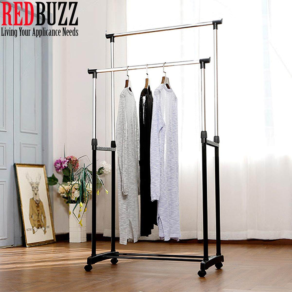 REDBUZZ Double Pole Adjustable Stainless Steel Cloth Hanger And Organizer Drying Rack Clothes Rack