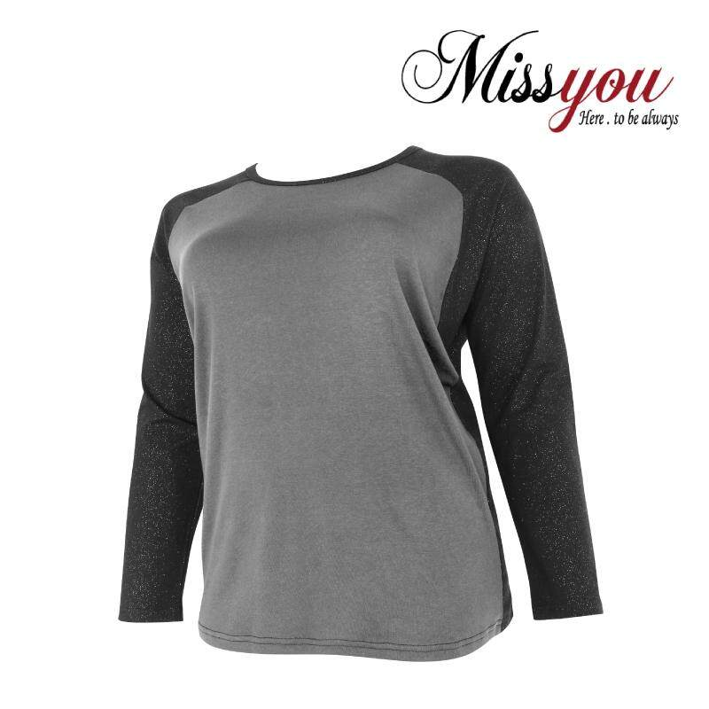MISS YOU PLUS SIZE Long Sleeves Colour Block Shimmer Sweatshirt MY300005 (Dark Grey)