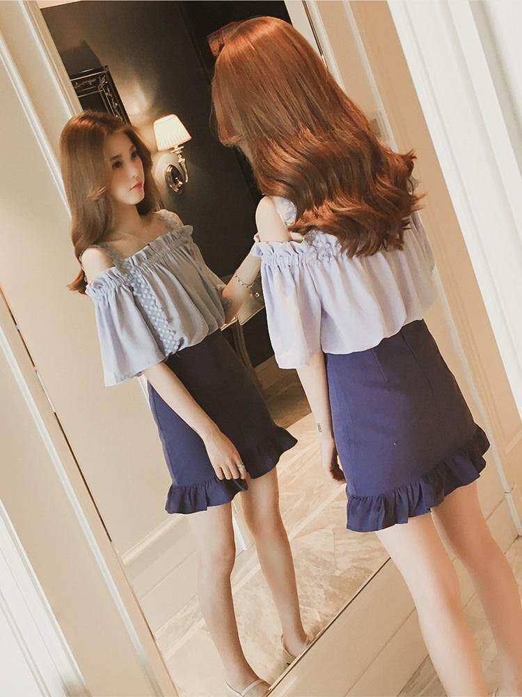 ?PRE-ORDER 21 DAYS?Off Shoulder strapless lace sling clavicle short-sleeved chiffon shirt