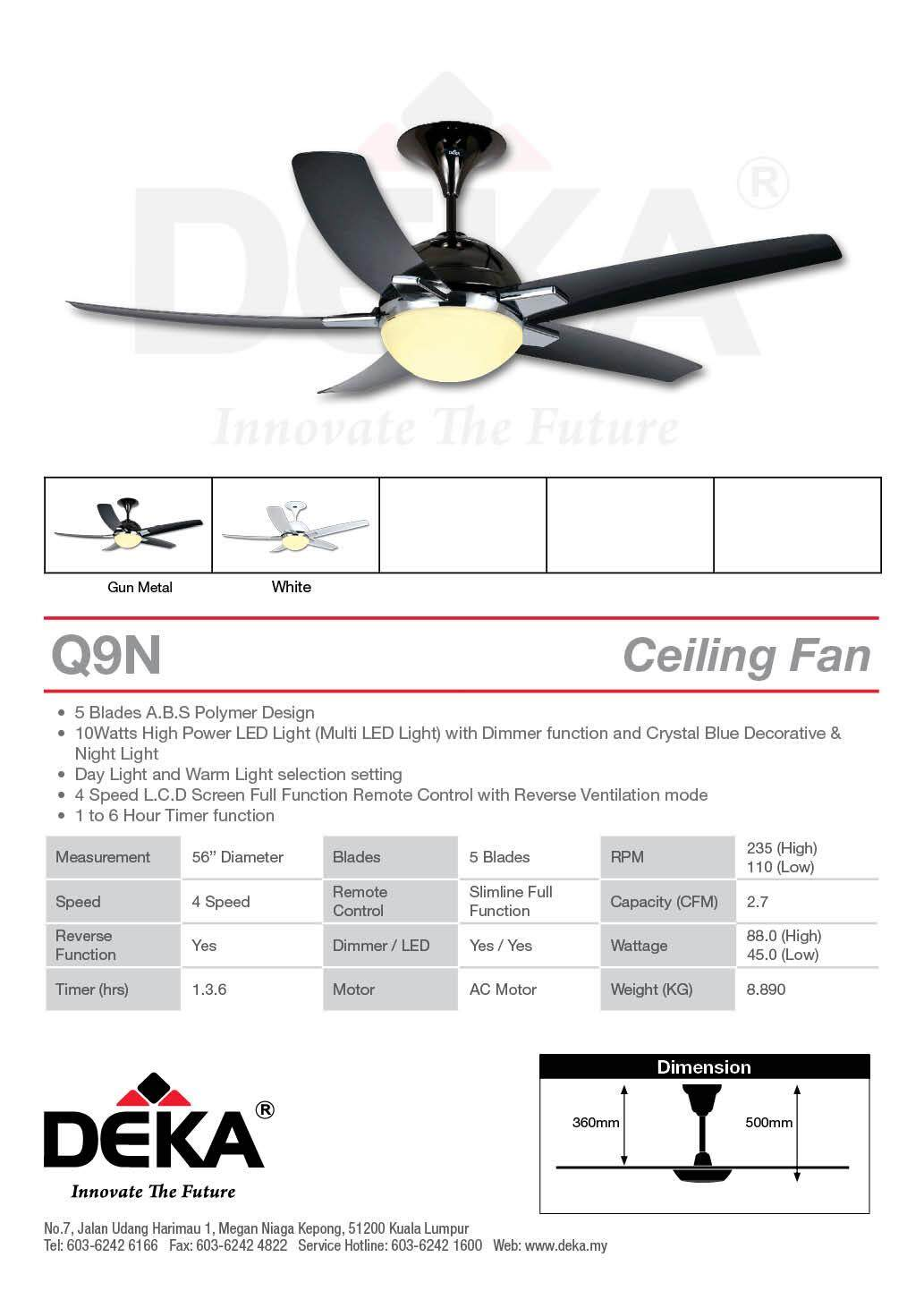 CEILING FAN DEKA Q9N-5B-GM LIGHT C/W RC 56""