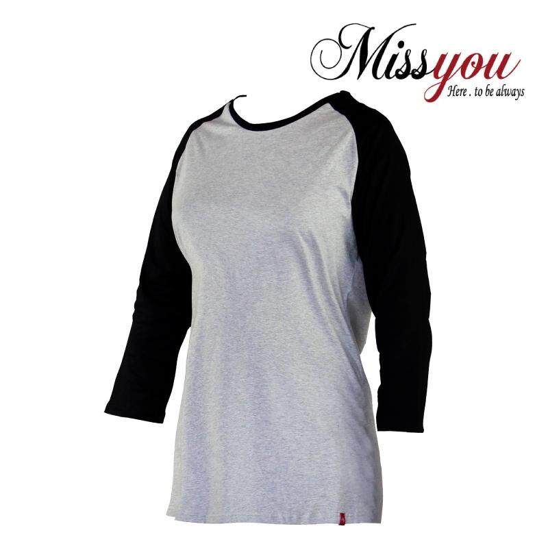 MISS YOU PLUS SIZE Round Neck 4/5 Sleeves Raglan Tees MY300008 (Melange)