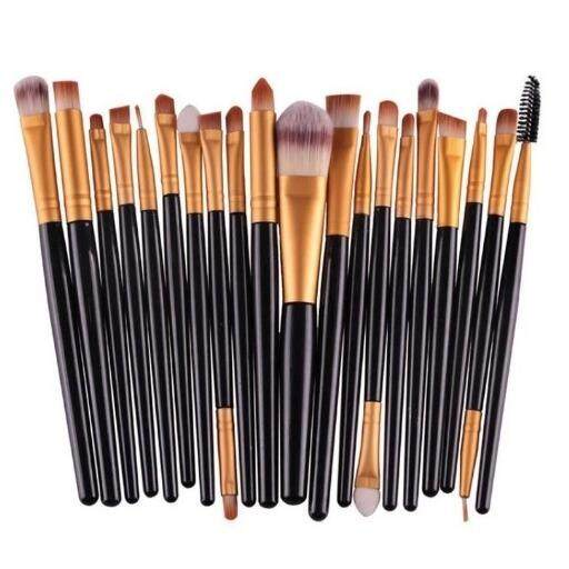20 pcs Make Up Brush Set Professional Makeup Brushes Eyebrow Eyeshadow Mascara Lip Kit (Black & Gold)