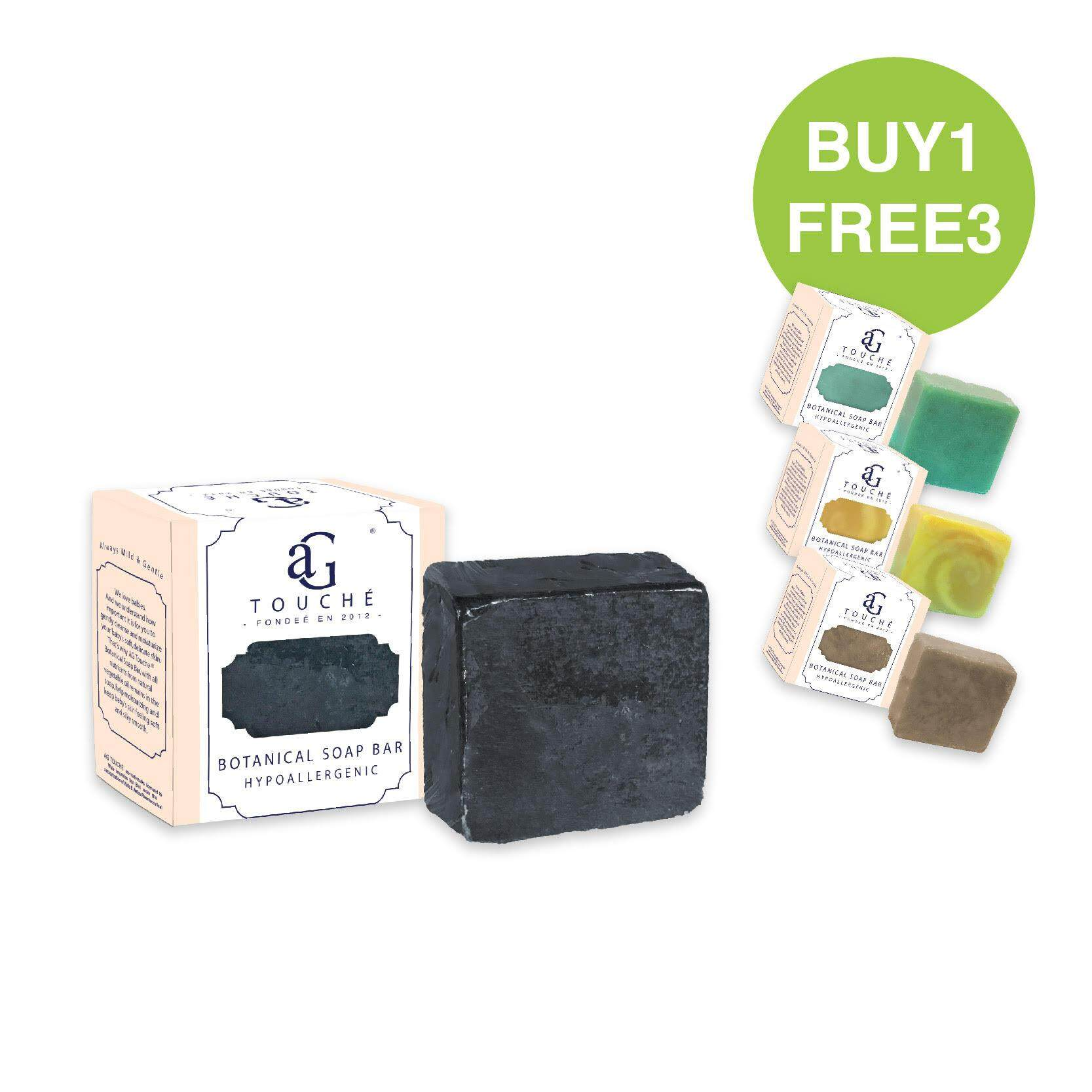 AG Touché Botanical Baby Soap Bar Bamboo Charcoal (80g) [Buy 1 FREE 3]