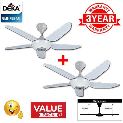 CEILING FAN DEKA BABY6N-5B-WH C/W RC (2 Pack)