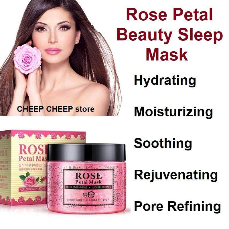 Rorec Rose Petal Mask with Hyaluronic Acid for Brightening Moisturizing Hydrating  Repairing Soothing – Non Oily Gel Wash Off Treatment Masque or Beauty Sleep Mask with Rejuvenating Roses Essence  140g