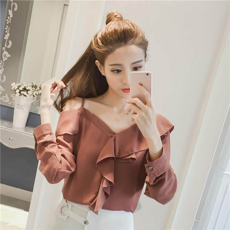?PRE-ORDER 21 DAYS?Ruffled pleated wood ear V-neck shoulder strap sling chiffon shirt