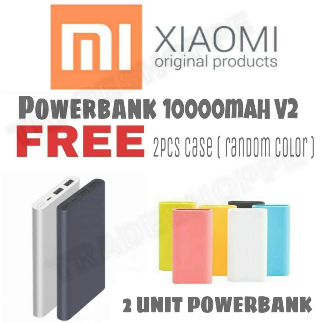 [SUPER COMBO 2 UNIT] Xiaomi Mi Powerbank 10000mah 2 Dual USB Port Power Bank v2 Fast Charging + 1000mah v2 Dual Port Silicon Case