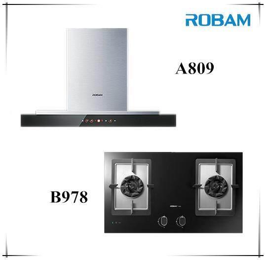 Robam A809 Chimney Hood + B978 2 Burners Glass Hob