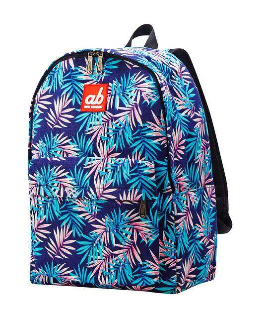 ab New Zealand Extra Spacious Kids School Canvas Backpack (Tropical Palm)