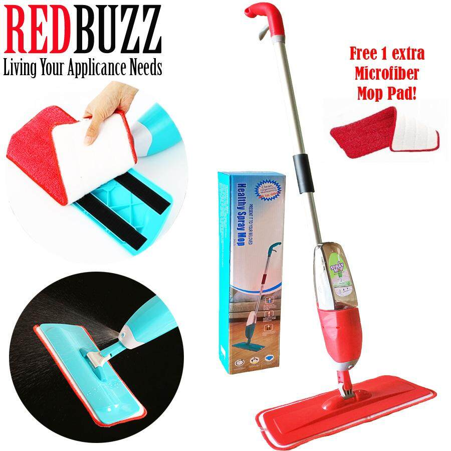 REDBUZZ Easy Spray Mop with Microfiber Refill Mop Pads (Red) + Free One Extra Microfiber Mop Pad