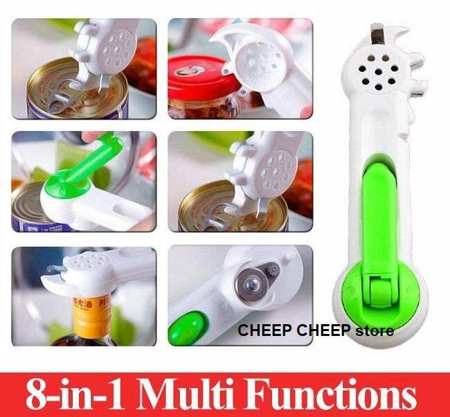 Kitchen CanDo 8-in-1 Kitchen Tool Can Opener Bottle Jar Screw Caps Open Steel Cutter