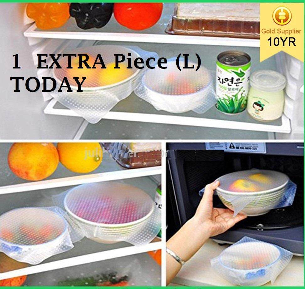 (4 + 1 extra) Zeco Stretchable Silicone Food Wrap - 4 pieces