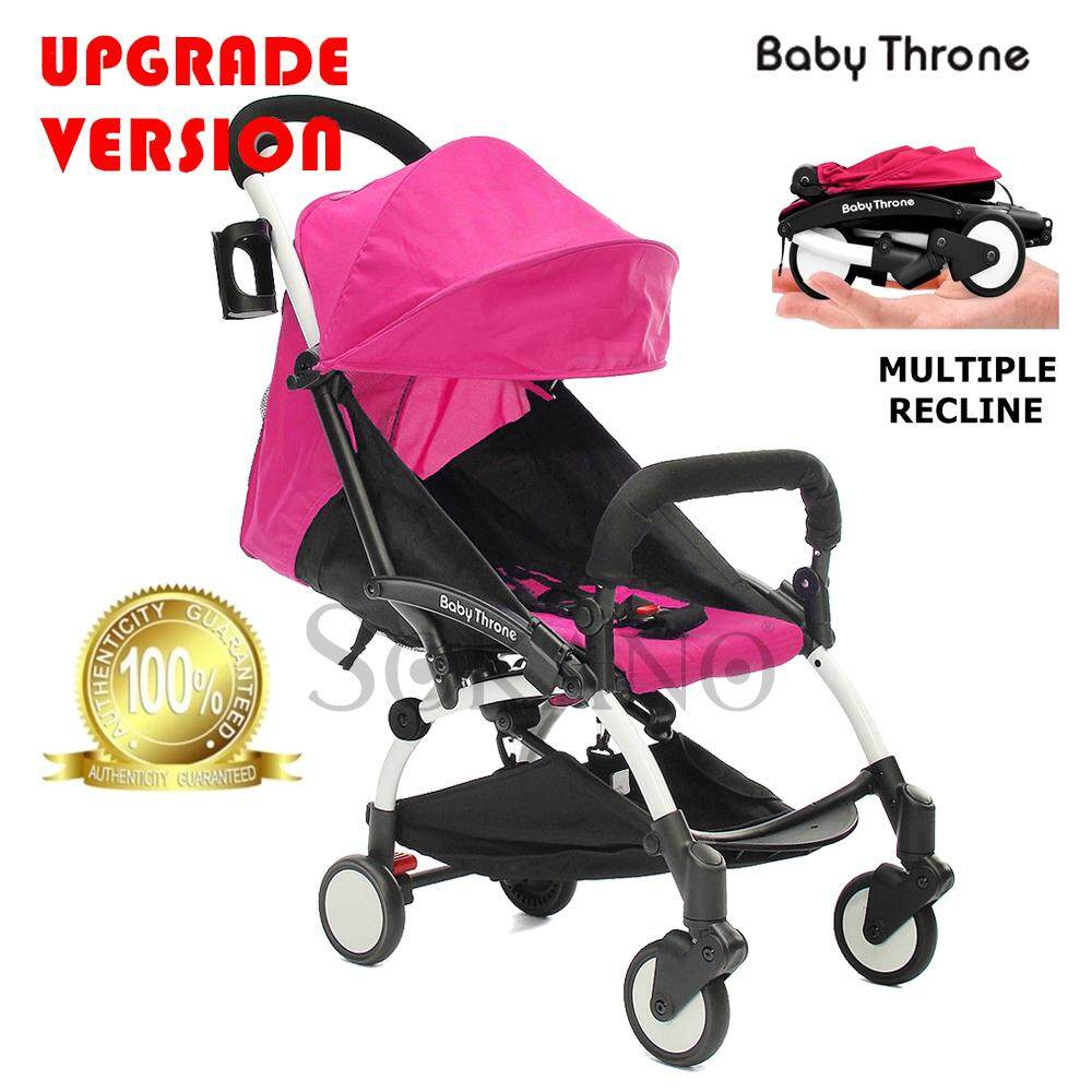 (Upgrade Version) Baby Throne Premium Lightweight Multiple Recline Super Compact Foldable Stroller (100% Authentic)- Pink