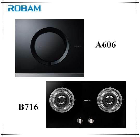 ROBAM A606 Chimney Hood + B716 2 Burners Glass Hob