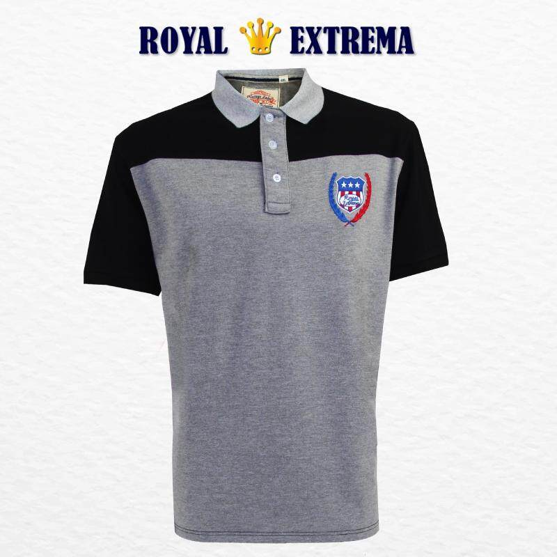 ROYAL EXTREMA BIG SIZE Men's Polo Cut & Sew Tee RE2009 (Melange)