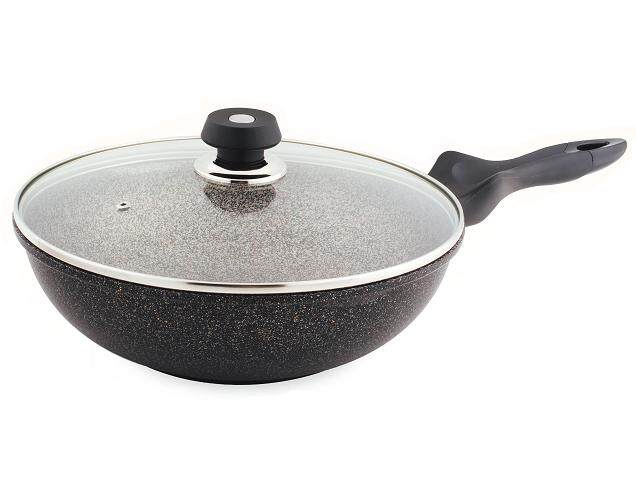 Queensense 30cm Curling Coated Marble Wok with Glass Lid (Induction based)