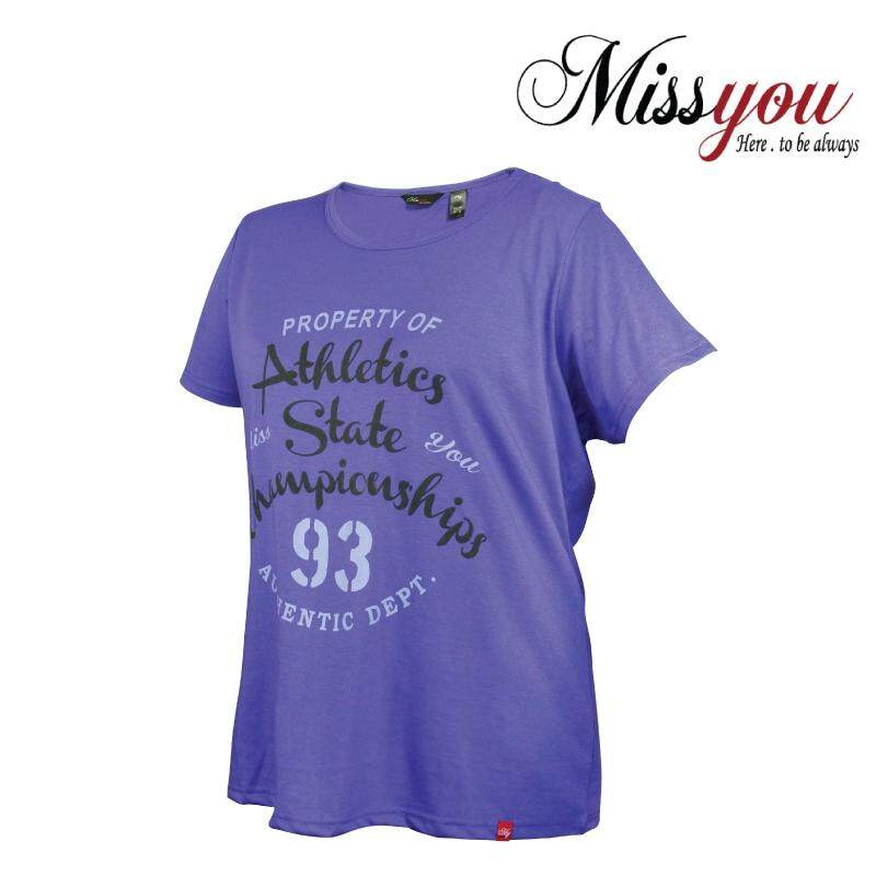 MISS YOU PLUS SIZE Ladies Casual Round Neck Tee with Printing MY100014 (Purple)