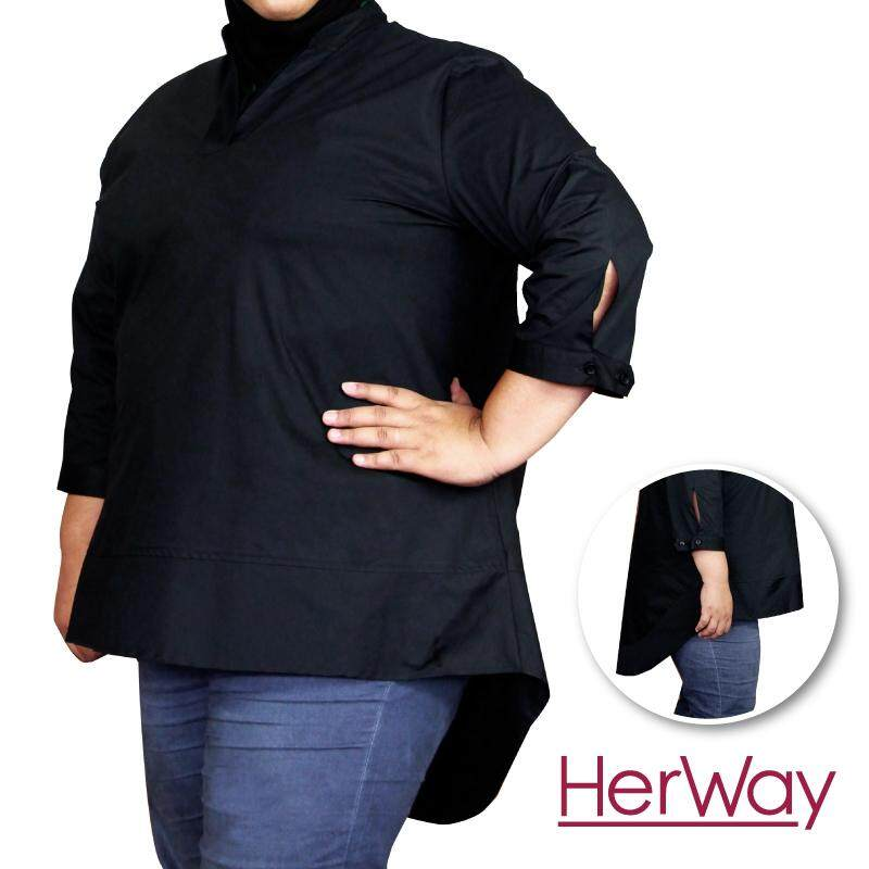 HERWAY PLUS SIZE Ladies Formal Three Quarter Sleeve V-neck Blouse HW9034 (Black)