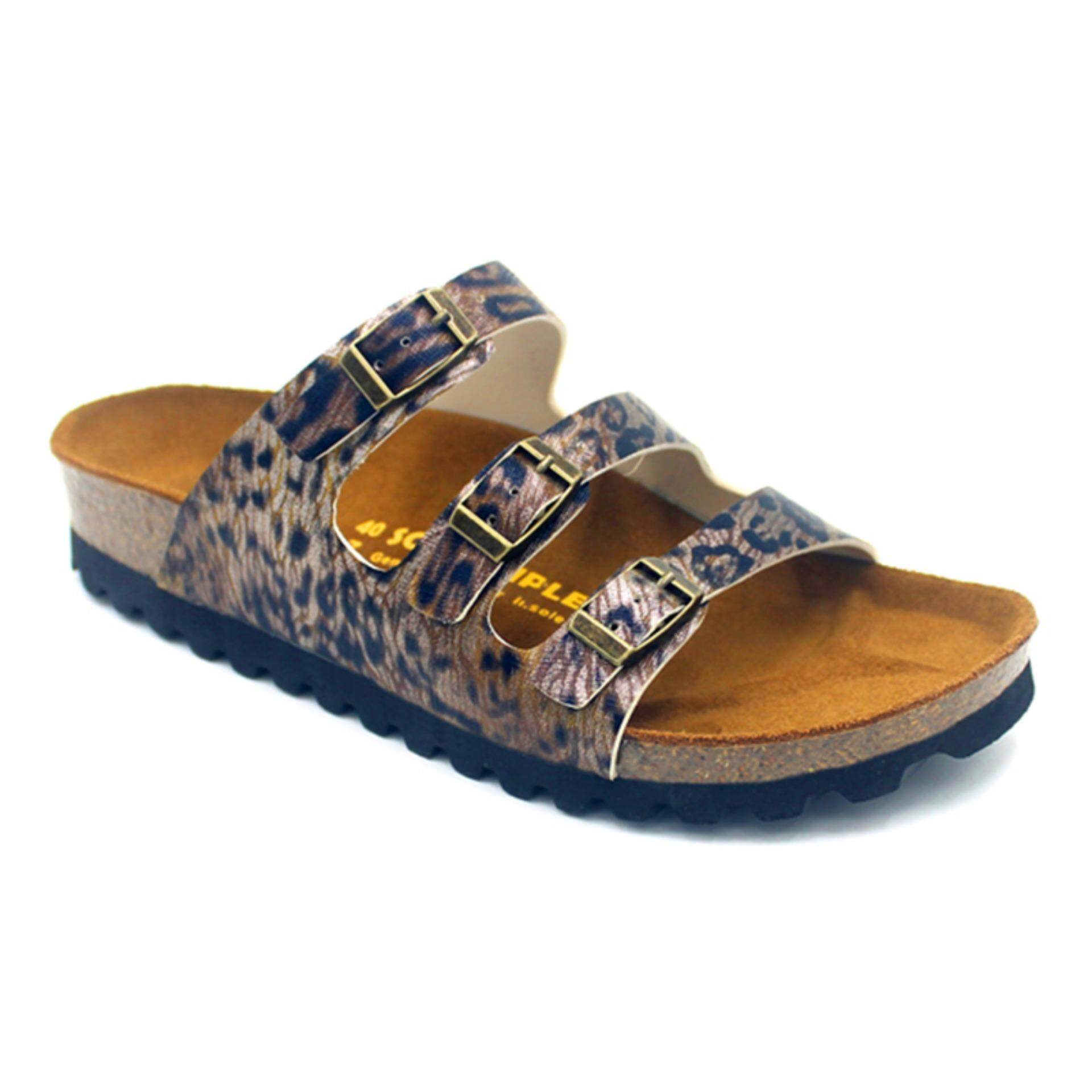 SoleSimple Ely - Leopard Bronze / Casual Soft Footbed Flat Slippers & Comfortable Shoes & Sandal Shoe
