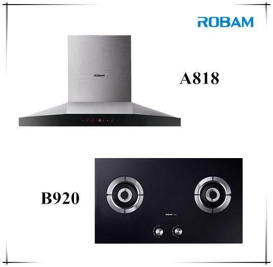 ROBAM A818 Chimney Hood + B920 Burners Glass Hob