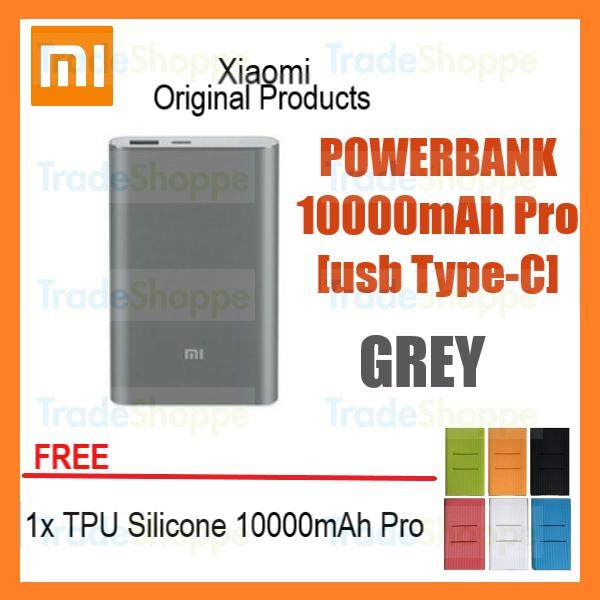 [Free Case] Xiaomi Mi Powerbank Pro 10000mAh Grey Slim USB-C Type-C Fast Charge Power Bank