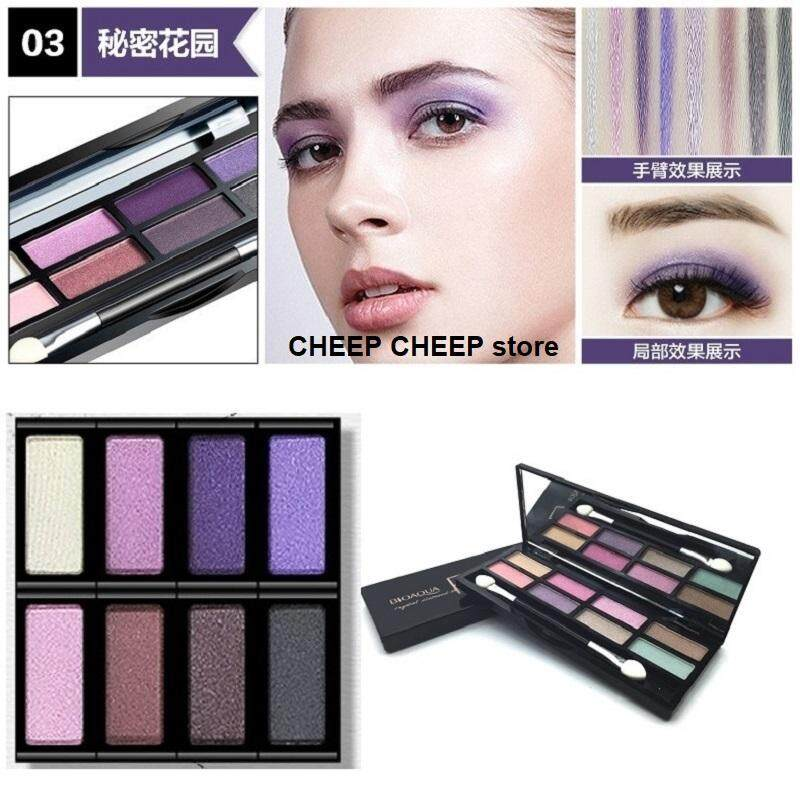 Bioaqua FLARE Eyeshadow Shimmering 8 Colors Pallete Makeup Kit for Alluring Sexy Romantic Looking Eyes for All Occasion Work Play Party Shopping Romantic Getaway Crystal Diamond Shine 12g #3 Secret Garden