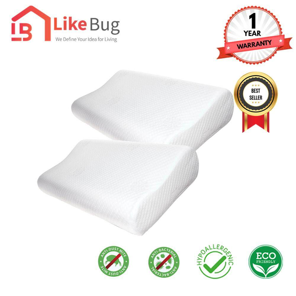 LIKE BUG: Set of 2 Sweetie Memory Foam Contour Pillow With 1 Year Warranty