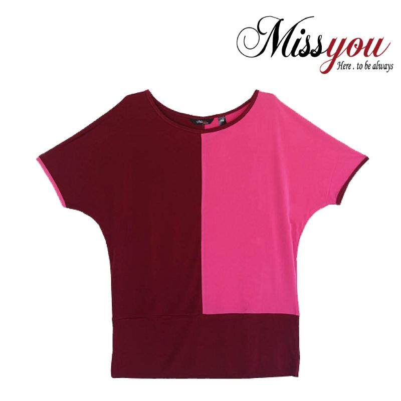 MISS YOU PLUS SIZE Short Sleeves Colour Blocking Long Top MY100005 (Maroon/Dark Pink)