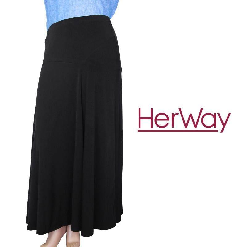 HERWAY PLUS SIZE Knit Long Skirt HW713 (Black)